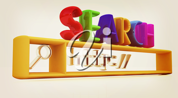 3d internet search string.Business and technology on a white background. 3D illustration. Vintage style.