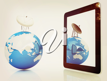 The concept of mobile high-speed Internet and planet earth on a white background. 3D illustration. Vintage style.