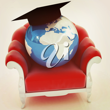 3D rendering of the Earth on a chair on a white background. 3D illustration. Vintage style.