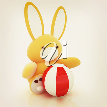 soft toy hare and colorful aquatic ball on a white background. 3D illustration. Vintage style.