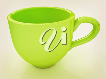 mug on a white background. 3D illustration. Vintage style.