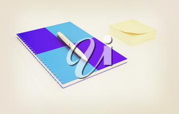 notepad with pen on a white. 3D illustration. Vintage style.