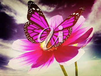 Beautiful Cosmos Flower and butterfly against the sky. 3D illustration. Vintage style.