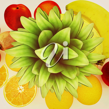 colorful citrus background. 3D illustration. Vintage style.