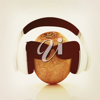 kiwi with sun glass and headphones front face on a white background. 3D illustration. Vintage style.