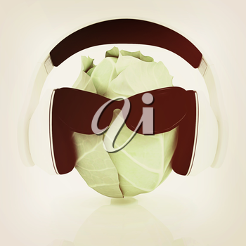 Green cabbage with sun glass and headphones front face on a white background. 3D illustration. Vintage style.