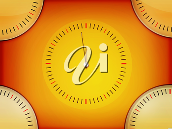 Simple Clock Background (yellow gradient). 3D illustration. Vintage style.