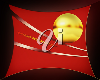 red background with golden sphere. 3D illustration. Vintage style.