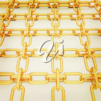 Gold chains on a white background. 3D illustration. Vintage style.