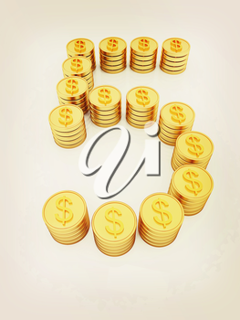 the number five of gold coins with dollar sign on a white background. 3D illustration. Vintage style.