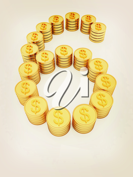 the number six of gold coins with dollar sign on a white background. 3D illustration. Vintage style.