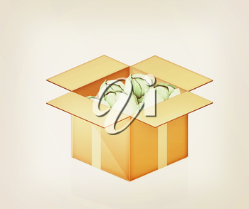 Green cabbage in cardboard box on a white background. 3D illustration. Vintage style.