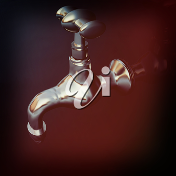 Water taps on a reflective background. 3D illustration. Vintage style.