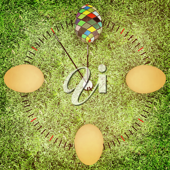 Easter time. The concept of start Easter. 3d render. 3D illustration. Vintage style.