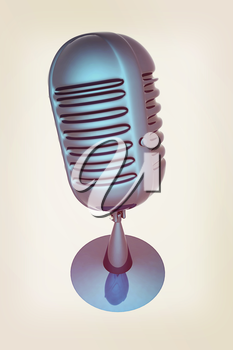blue metal microphone on a white background. 3D illustration. Vintage style.