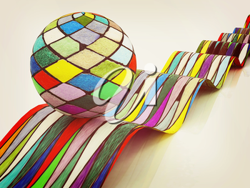 Mosaic ball on a colorful waves on a white background. 3D illustration. Vintage style.