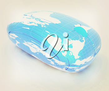 Globe Earth Mouse on a white background. 3D illustration. Vintage style.