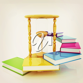 Hourglass and books on a white background. 3D illustration. Vintage style.