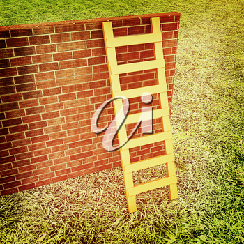 Ladder leans on brick wall on a green grass. 3D illustration. Vintage style.