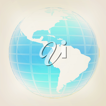 3d globe icon with highlights on a white background. 3D illustration. Vintage style.