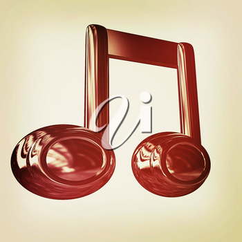 Music note on a white background. 3D illustration. Vintage style.