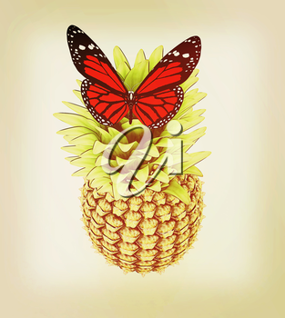 Red butterflys on a pineapple on a white background . 3D illustration. Vintage style.