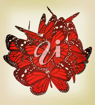 Butterflies on a white background. 3D illustration. Vintage style.