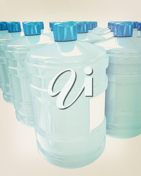 Bottles with clean blue water on a white background. 3D illustration. Vintage style.