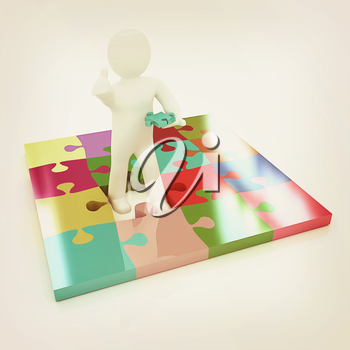 3d people - missing piece - jigsaw. 3d render. The concept of niche on a white background. 3D illustration. Vintage style.