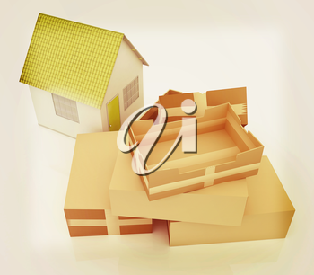 Cardboard boxes and house on a white background. 3D illustration. Vintage style.