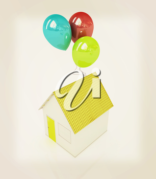 House with colorful balloons on a white background. 3D illustration. Vintage style.