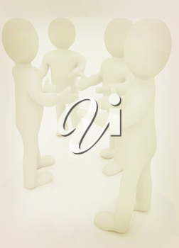 3d man. Discussion on a white background. 3D illustration. Vintage style.