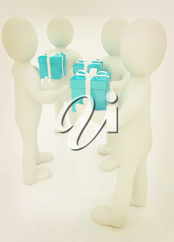 3d mans gives gifts on a white background. 3D illustration. Vintage style.