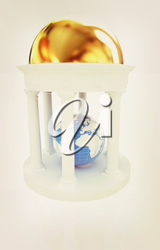 Earth in rotunda on a white background. 3D illustration. Vintage style.