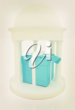 Gift box in rotunda on a white background. 3D illustration. Vintage style.