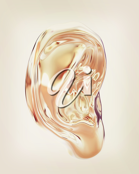 Ear metal 3d render isolated on white background . 3D illustration. Vintage style.