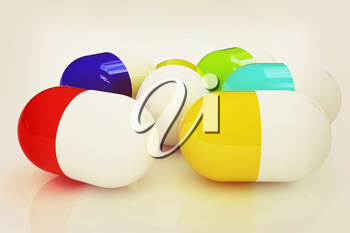 Pills on a white background. 3D illustration. Vintage style.
