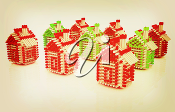 Log houses from matches pattern with the best percent on white . 3D illustration. Vintage style.