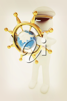 Sailor with gold steering wheel and earth. Trip around the world concept on a white background. 3D illustration. Vintage style.
