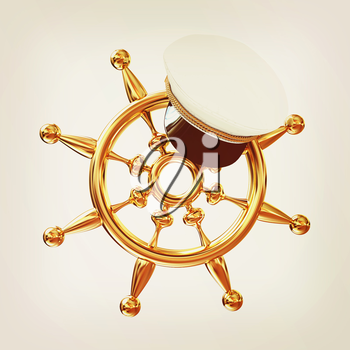 Marine cap on gold marine steering wheel on a white background. 3D illustration. Vintage style.