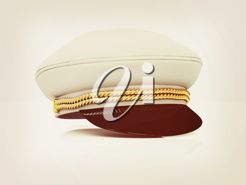 Marine cap on a white background. 3D illustration. Vintage style.