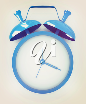 Alarm clock. 3D icon on a white background. 3D illustration. Vintage style.