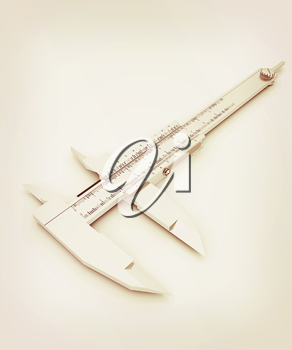 Vernier caliper on a white background. 3D illustration. Vintage style.