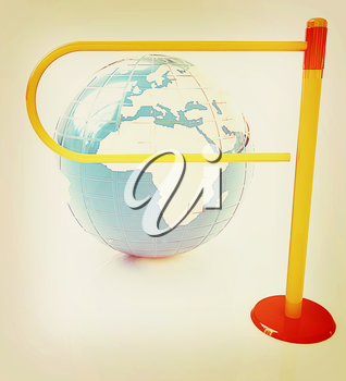 Three-dimensional image of the turnstile and earth. 3D illustration. Vintage style.