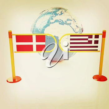 Three-dimensional image of the turnstile and flags of Denmark and Greece on a white background . 3D illustration. Vintage style.