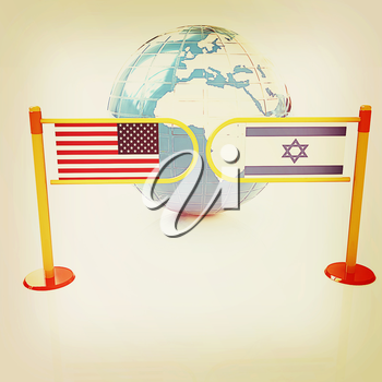 Three-dimensional image of the turnstile and flags of America and Israel on a white background . 3D illustration. Vintage style.
