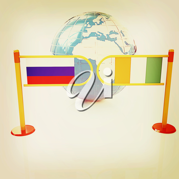 Three-dimensional image of the turnstile and flags of Ireland and Russia on a white background . 3D illustration. Vintage style.