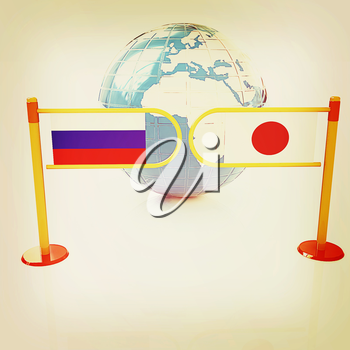 Three-dimensional image of the turnstile and flags of Japanese and Russia on a white background . 3D illustration. Vintage style.