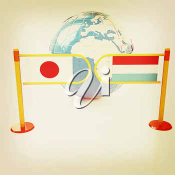 Three-dimensional image of the turnstile and flags of Japan and Luxembourg on a white background . 3D illustration. Vintage style.