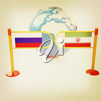 Three-dimensional image of the turnstile and flags of Russia and Iran on a white background . 3D illustration. Vintage style.